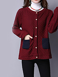 Women's Casual/Daily Vintage Jackets,Solid Round Neck Long Sleeve Fall / Winter Red Cotton Thick