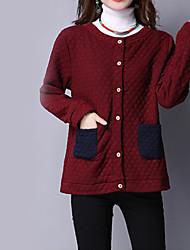 Veste Femme,Couleur Pleine Décontracté / Quotidien Vintage Manches Longues Col Arrondi Rouge Coton Epais Automne / Hiver