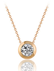 Simple Style Shiny Gold Tone Round Cubic Zirconia Pendant Necklace
