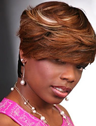 Natural Looking Mixed Color Brown Fashion Wig for Black Women New Style Synthetic Wigs Heat Resistant