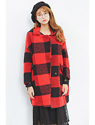 Women's Casual/Daily Simple CoatPrint Long Sleeve Winter