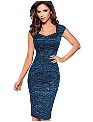 Women's Square Neck Plus Size Vintage Lace Short Sleeve Bodycon Pencil Dress
