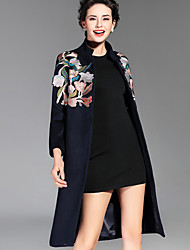 Women's Chinoiserie Coat Long Sleeve Embroidered