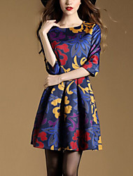 Women's Casual/Daily Sophisticated Sheath DressFloral Round Neck Mini  Length Sleeve Multi-color Cotton Spring / Fall