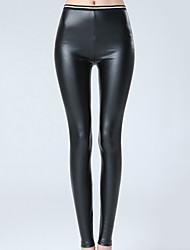 Women's Solid Black Skinny Pants Sexy /Street chic Casual High Waist Fashion Fall / Winter PU