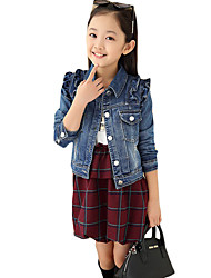Girl's Casual/Daily Check Dress / Jeans / Clothing SetCotton Spring / Fall Blue / Red