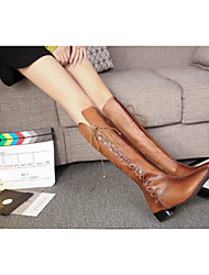 Women's Boots Fall / Winter Comfort Leather Outdoor / Casual Low Heel Lace-up Brown Cycling / Walking