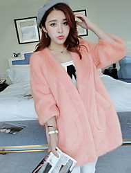 Women's Casual/Daily Sexy / Cute Fur CoatSolid Off Shoulder Long Sleeve Fall / Winter Pink / White