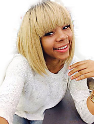 Natural Straight Short Bob Capless Wigs Human Hair Wigs with Full Bangs