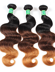 A Ombre Cheveux Brésiliens Ondulation naturelle 6 Mois 3 Pièces tissages de cheveux