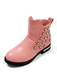 Girl's Boots Fall / Winter Comfort PU Dress / Casual Flat Heel Bowknot /  Black / Pink / Red Walking
