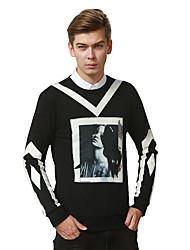 Sweatshirt Pour des hommes A Motifs Décontracté Coton Manches longues Noir