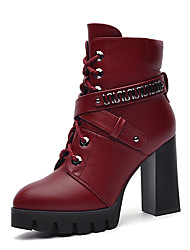 Women's Boots Winter Fashion Boots Leatherette Wedding / Dress / Casual Chunky Heel Others Black / Burgundy Others