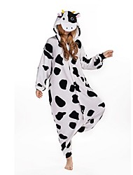 Kigurumi Pajamas Milk Cow Leotard/Onesie Festival/Holiday Animal Sleepwear Halloween Black/White Animal Print Velvet Mink Kigurumi For