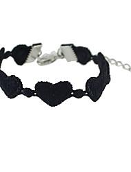 Gothic Style Black Lace Heart Shape Chain Bracelet