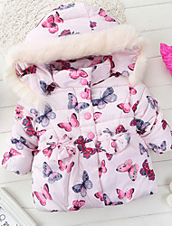 Girl's Casual/Daily Print Down & Cotton PaddedCotton Winter Pink