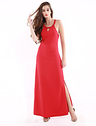 1287 Women's Going out / Party Sexy Swing DressSolid Round Neck Maxi Sleeveless Red Cotton