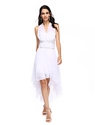 TS Couture Cocktail Party Prom Dress - Short A-line Halter Asymmetrical Chiffon with Beading Ruching