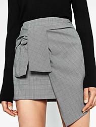 Femme simple Taille Normale Au dessus des genoux Jupes,Crochet Effets superposés A Carreaux