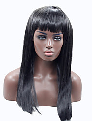 Black Straight Synthetic Lace Front Wig With Bangs Glueless Synthetic Lace Wig for Afro Women