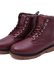 Men's Boots Fall / Winter Comfort PU Casual Flat Heel Black / Brown / Red Sneaker
