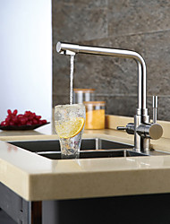 Contemporary Standard Spout Centerset Widespread with  Ceramic Valve Single Handle One Hole for  Chrome  Kitchen faucet
