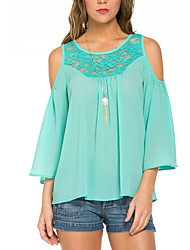 Women's Going out / Casual/Daily Street chic Summer Blouse,Patchwork Round Neck ¾ Sleeve Green Polyester / Others Thin