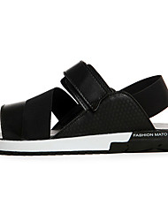 Unisex Sandals Summer Comfort PU Casual Flat Heel Magic Tape Black White Orange Others