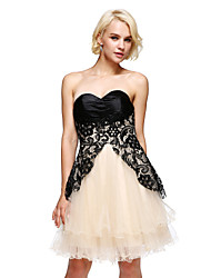 TS Couture® Prom  Cocktail Party Dress A-line Strapless Short / Mini Lace / Satin / Tulle / Charmeuse with Lace