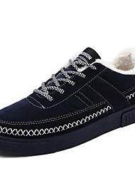 Femme-Extérieure / Décontracté / Sport-Noir / Bleu / Gris-Talon Plat-Confort-Sneakers-Daim / Sergé