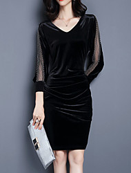 Women's Plus Size / Going out Simple Sheath DressSolid V Neck Above Knee  Sleeve Black / Gray Polyester