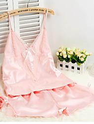 Women Ultra Sexy NightwearSexy Solid-Medium Silk Champagne / Pink / Gray / Black Women's