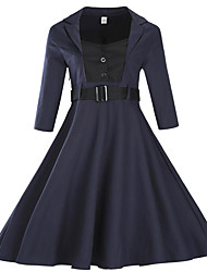 Gaine Robe Femme Habillées Grandes Tailles Sophistiqué,Couleur Pleine Asymétrique Mi-long Manches ¾ Bleu Rouge Violet Coton Polyester