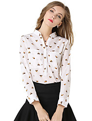 Women's Casual/Daily Simple Spring / Fall Shirt,Animal Print V Neck Long Sleeve White Polyester Medium