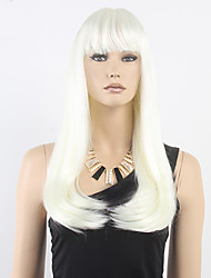 White Neat Bang Long Straight Hair Synthetic Wig