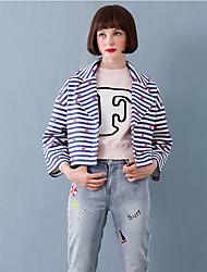 Women's Going out Cute Jackets,Striped Notch Lapel Long Sleeve Winter Blue Wool / Polyester Medium