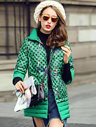 Women's Padded Coat,Simple Going out Polka Dot-Cotton Polypropylene Long Sleeve Black / Green