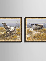 E-HOME® Framed Canvas Art, The Lake And The Wooden Chair Framed Canvas Print Set of  2
