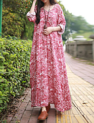 Cynthia Women's Casual/Daily Chinoiserie Loose DressFloral V Neck Maxi Long Sleeve Red Others Spring