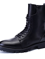 Men's Motorcycle Boots Fashion Casual Martin Boots Flat Heel Rivet / Zipper / Lace-up Black