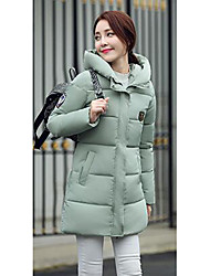 Women's Long Padded Coat,Simple Casual/Daily Solid-Special Leather Types Cotton Long Sleeve Hooded Red / Black / Gray / Green