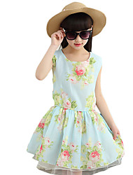 Girl's Going out Floral Dress,Cotton / Polyester Summer Blue / Pink / Yellow