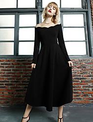 MASKED QUEEN Women's Going out Simple Little Black DressSolid Boat Neck Knee-length Long Sleeve Black
