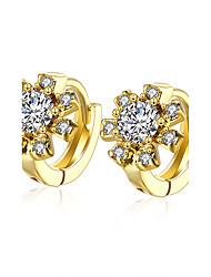 XU Women Fashion Flower-shaped Ear Clip Diamonds