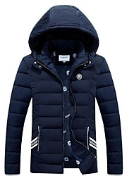 Men's Long Padded Coat,Simple Casual/Daily Solid-Polyester Cotton Long Sleeve Hooded