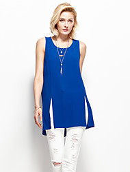 Women's Going out Simple Summer Tank TopSolid Round Neck Sleeveless Blue Polyester Thin
