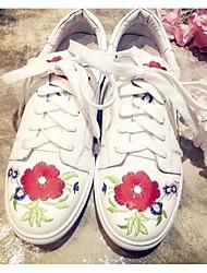 Damen-Sneaker-Lässig-Leder-Flacher Absatz-Komfort-Gelb / Weiß
