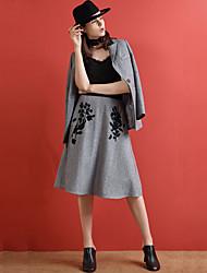 Jupes Aux femmes Midi Chinoiserie Acrylique / Polyester Micro-élastique