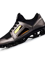 Femme-Extérieure / Sport-Noir / Argent-Talon Plat-Confort-Sneakers-Microfibre