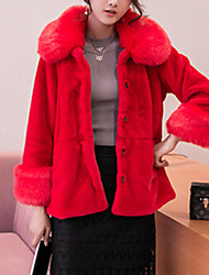 Women's Going out / Casual/Daily Vintage / Simple / Cute Fur Coat,Solid Hooded Long Sleeve Fall / Winter Red Rabbit Fur / Faux Fur